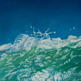 oil painting detail of a wave
