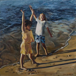 Two children in oil painting by Elaine Conneely