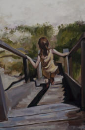 Child descending steps in oil on canvas