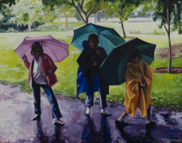 Three children playing in the rain in oil paint