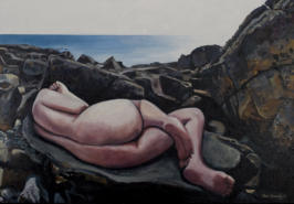 nude on the rocks oil on canvas